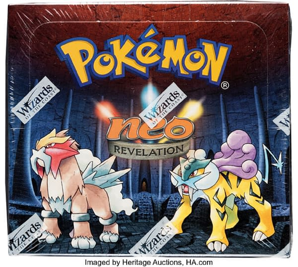 The front lid of the sealed, 1st Edition booster box of Neo Revelation from the Pokémon TCG. This booster box is currently being auctioned over at Heritage Auctions.