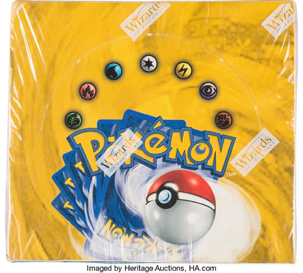 A top view of the unlimited Base Set booster box from the Pokémon Trading Card Game, up for auction at Heritage Auctions now!