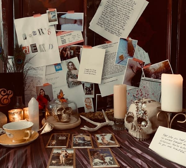 """An interesting and sufficiently spooky photo of some of the potential components in the Murder & Co. subscription box. These photos do not show finalized true crime """"evidence"""", as they don't want to spoil a thing about the mysteries."""
