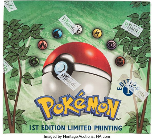 A top view of the 1st Edition Jungle booster box from the Pokémon TCG, up for auction at Heritage Auctions now!