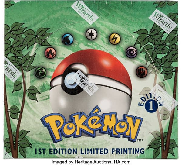 The front lid of the 1st Edition booster Jungle box from the Pokémon TCG, currently available at auction on Heritage Auctions' website.