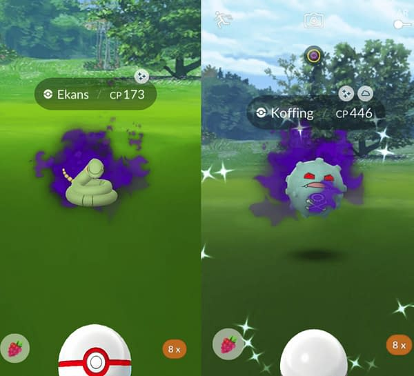 Shiny Ekans and Shiny Koffing confirmed. Credit: Reddit users PkmnTrnrJ and WillNE5m2020.
