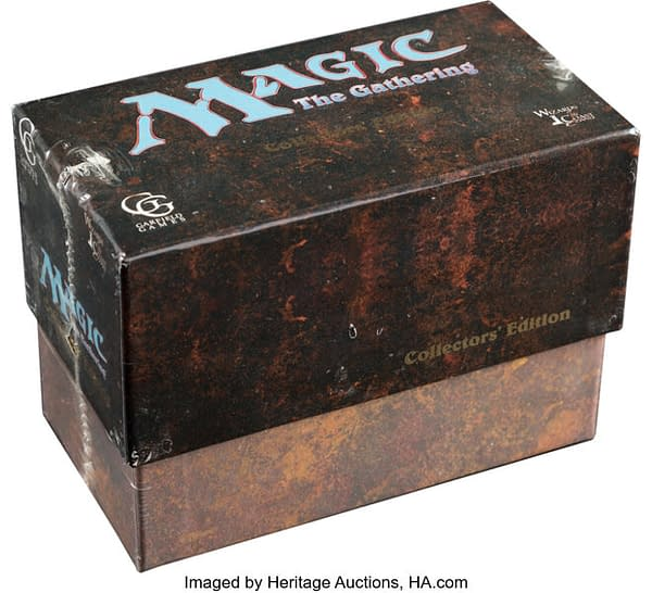 An angled photograph of the Collectors Edition box from Magic: The Gathering, now auctioned by Dallas, Texas-based Heritage Auctions.