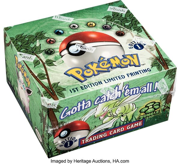 An angled photograph of the 1st Edition Jungle booster box from the Pokémon TCG. This box is currently available for auction over at Heritage Auctions.