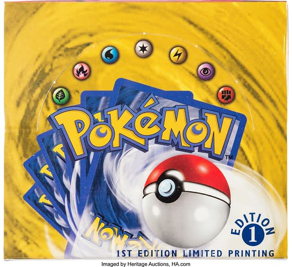 The top of the sealed booster box of 1st Edition Base Set from the Pokémon TCG. Currently available on auction at Heritage Auctions' website.