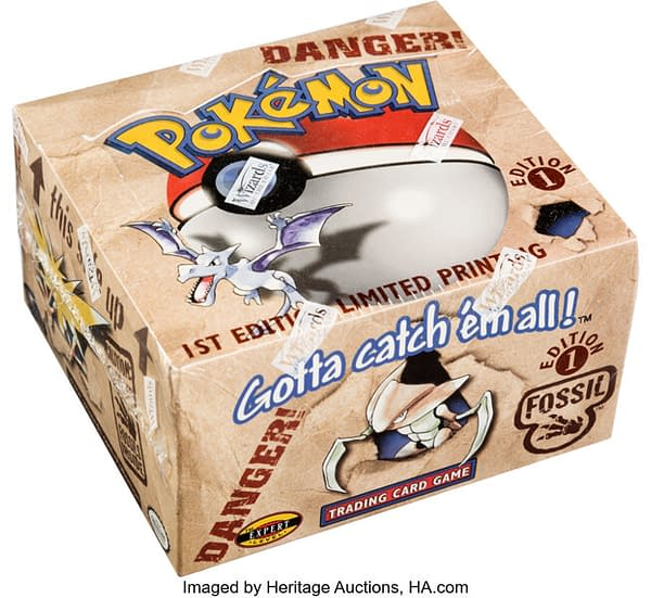 An angled photograph of the 1st Edition Fossil booster box from the Pokémon TCG. This box is currently available for auction over at Heritage Auctions.