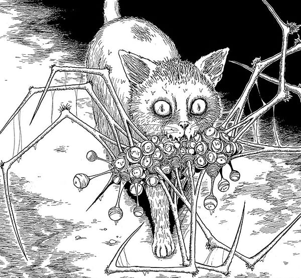 A scary cat has a mouth full of staring eyes and spider legs!