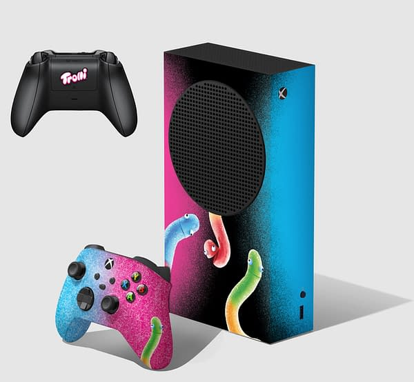 A preview of the special custom Xbox Series S you could win.  Courtesy of Trolli.