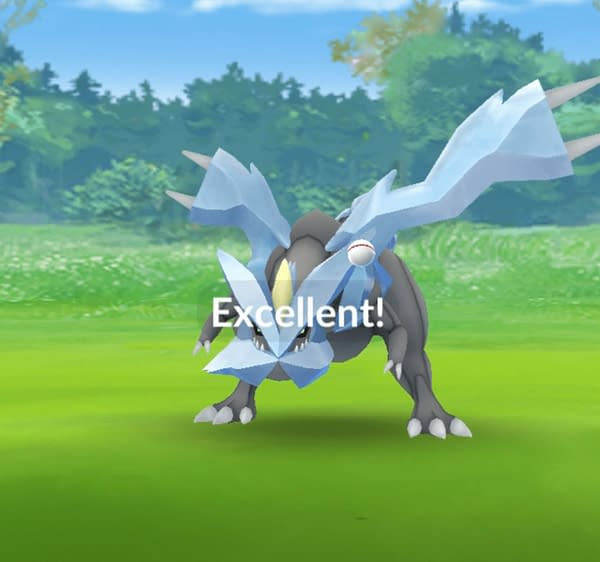 "Screengrab of an ""excellent"" throw on a Kyurem. Credit: Theo Dwyer's Pokémon GO account."