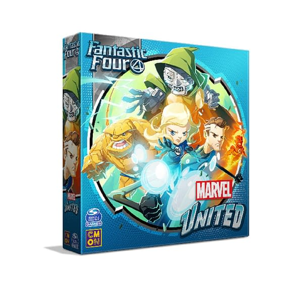 The front of the box for Marvel United: Fantastic Four, created by CMON as a stretch goal for their Marvel United: X-Men Kickstarter campaign.