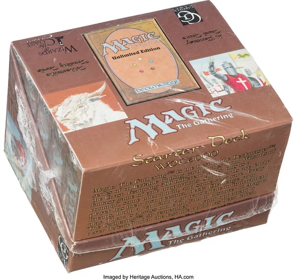 An angled shot of the display box for ten Unlimited starter decks from Magic: The Gathering. Currently available on the auction block at Heritage Auctions.