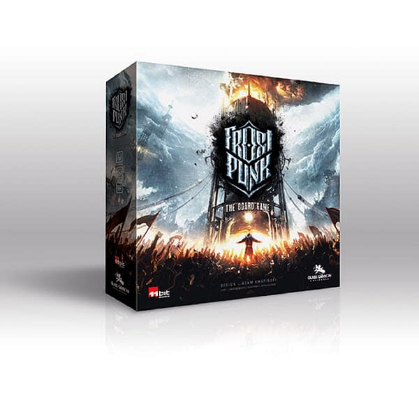 The box for Frostpunk, a board game by 11 bit studios and Glass Cannon Unplugged. Its Kickstarter campaign will be launching this fall.