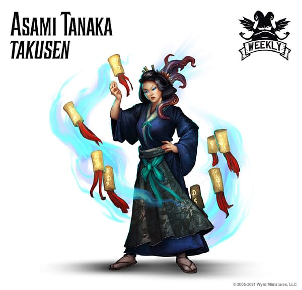 The art for Asami Tanaka, Takusen, from the Ten Thunders faction of Malifaux's third edition by Wyrd Games. This is an entirely new miniature with all-new abilities, based on its new title.