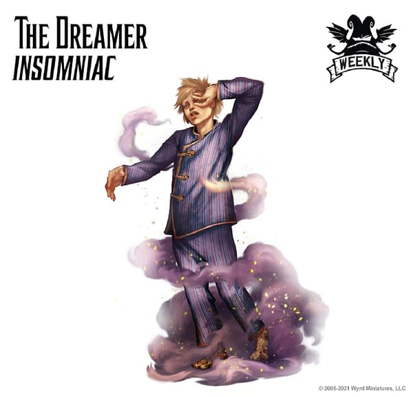 The art for The Dreamer, Insomniac, a new title for the Neverborn Master. Image attributed to Malifaux Third Edition, by Wyrd Games.