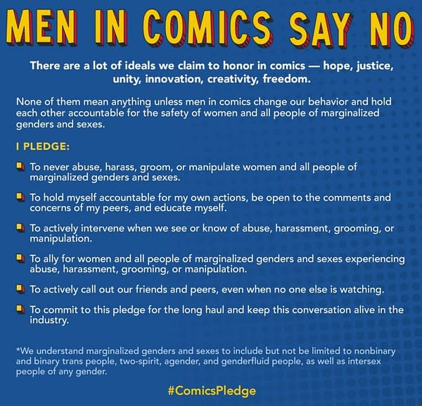 Male Comic Creators Take The #ComicsPledge - A First Step.