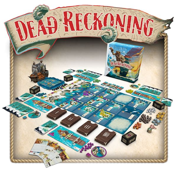 The array of components in Dead Reckoning, a new pirate-themed adventure game by Alderac Entertainment Group.