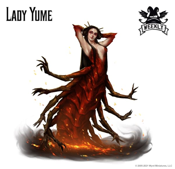The art for Lady Yume, a new Nightmare and Oni model for the Ten Thunders faction and for The Dreamer. Image attributed to Malifaux Third Edition, by Wyrd Games.