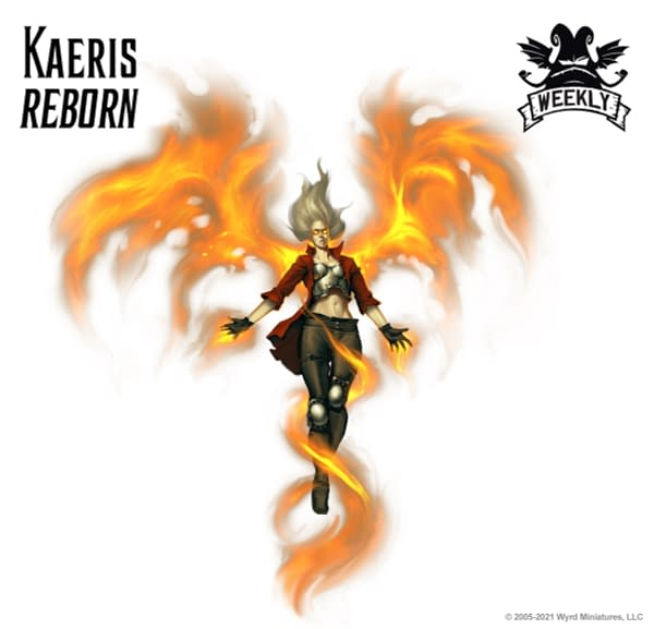 The art for Kaeris, Reborn, a new title for Anasalea Kaeris, an Arcanist Master within the objective-based skirmish wargame Malifaux, created by Wyrd Games.