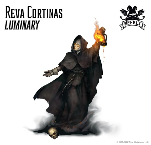 The art for Reva Cortinas, Luminary, a new title for Reva Cortinas, a Resurrectionist Master within the objective-based skirmish wargame Malifaux, created by Wyrd Games.