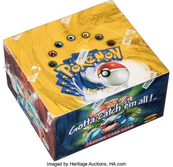 An angled photograph of the Unlimited booster box of Base Set cards from the Pokémon TCG. This box is currently available for auction over at Heritage Auctions.