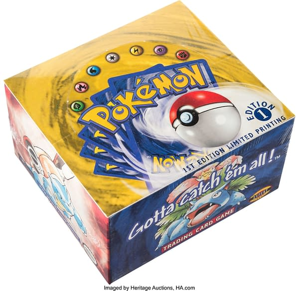 An angled shot of the sealed 1st Edition Base Set booster box from the Pokémon TCG. Currently on auction at Heritage Auctions' website.