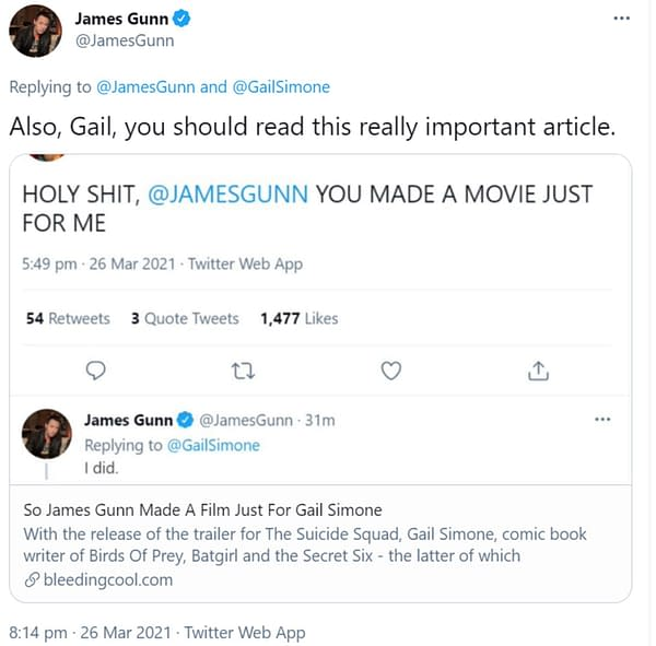James Gunn Tells Gail Simone That She Should Really Read This Article