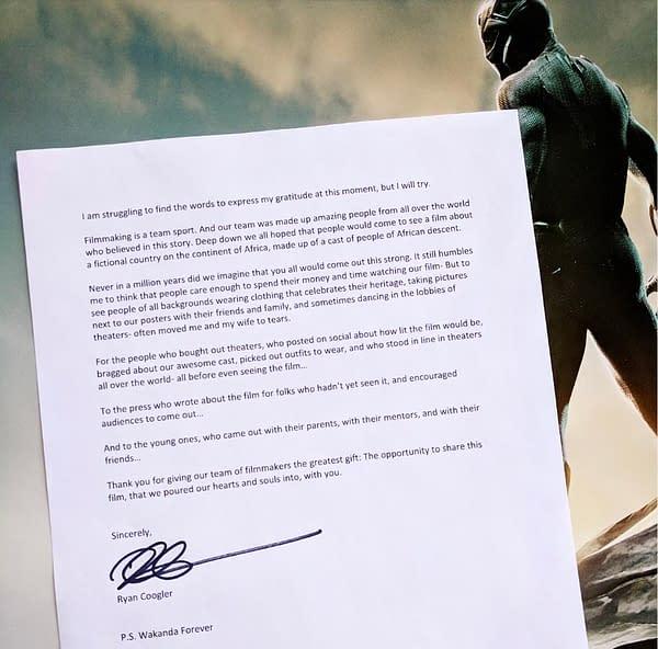 'Black Panther' Director Ryan Coogler Pens Thank You Letter
