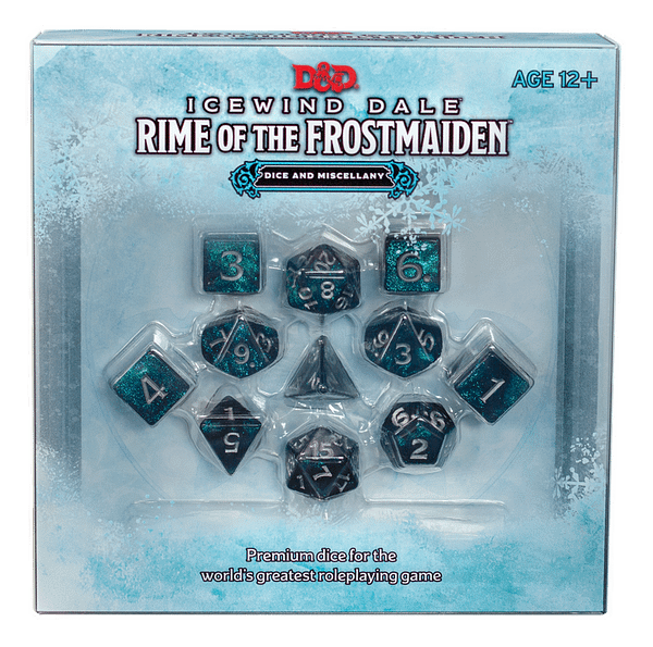A look at the box of the Icewind Dale dice set, courtesy of Wizards of the Coast.