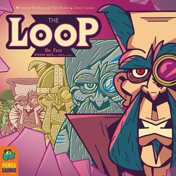 The box cover for the English version of The Loop, a game by Catch Up Games and localized by Pandasaurus Games. The Loop will release in September 2021.