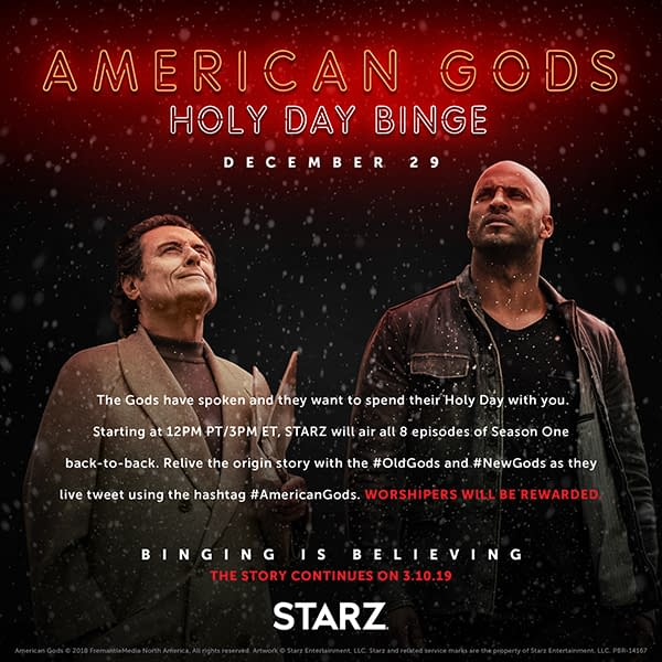 American Gods: Holy Binge Watching! Starz Offers Season 1 Live-Tweet Marathon