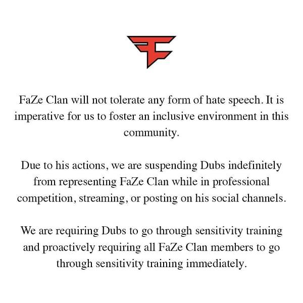 "FaZe Bans ""Fortnite"" Player ""Dubs"" After Dropping A Racial Slur"