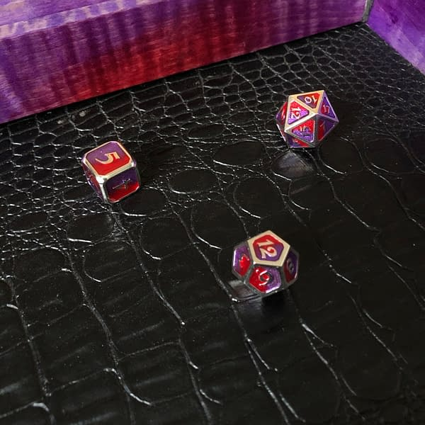 Testing out the base with some metal dice.