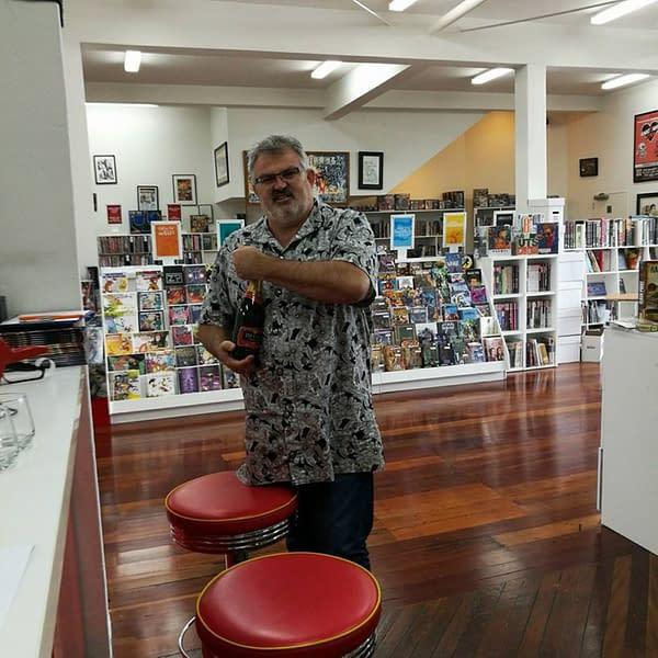 Photo of Stu Colson by Sue Colson in Heroes For Sale comic shop