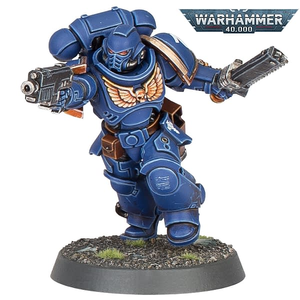 A chainsword-wielding Space Marine Intercessor for the ninth edition of Warhammer 40,000.
