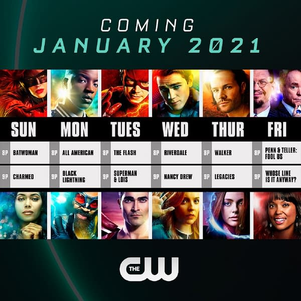 A look at the original January 2021 schedule with revised Batwoman image, courtesy of The CW.