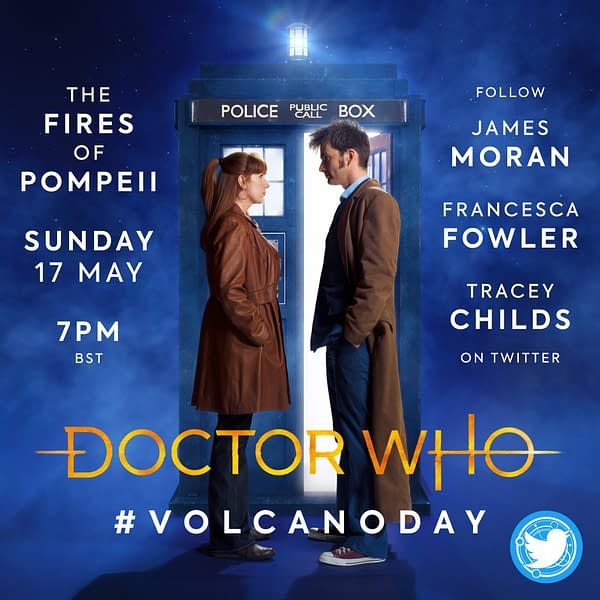 """The next Doctor Who Lockdown global rewatch will be """"The Fires of Pompeii"""", image courtesy of Doctor Who Lockdown and BBC."""