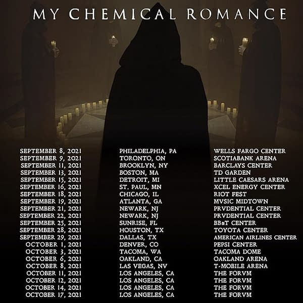 A list of My Chemical Romance's updated tour dates for their North American reunion tour.