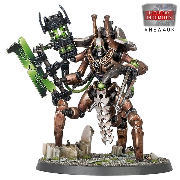 The Necron faction's Skorpekh Lord model, from the Indomitus boxed set for Warhammer 40,000 by Games Workshop.
