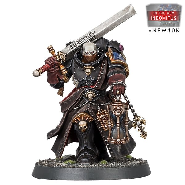 The Space Marine faction's Judiciar model, from the Indomitus boxed set for Warhammer 40,000 by Games Workshop.
