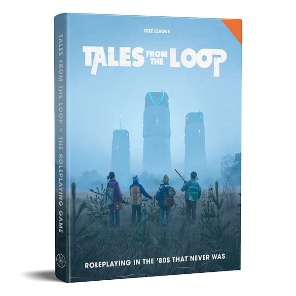 The front cover of the core rulebook for the Tales From The Loop role-playing game by Free League Publishing.