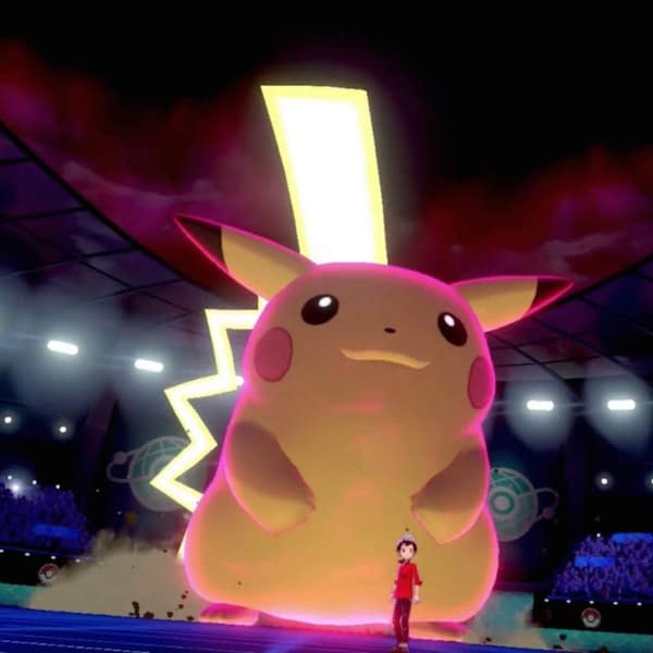 An image from Pokémon Sword and Shield, depicting a Gigantamax Pikachu, much like one will now see in the Pokémon Trading Card Game.
