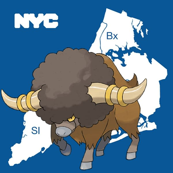 Bouffalant is the new New York City regional Pokémon. Credit: www.nyc.gov and the Pokémon Company