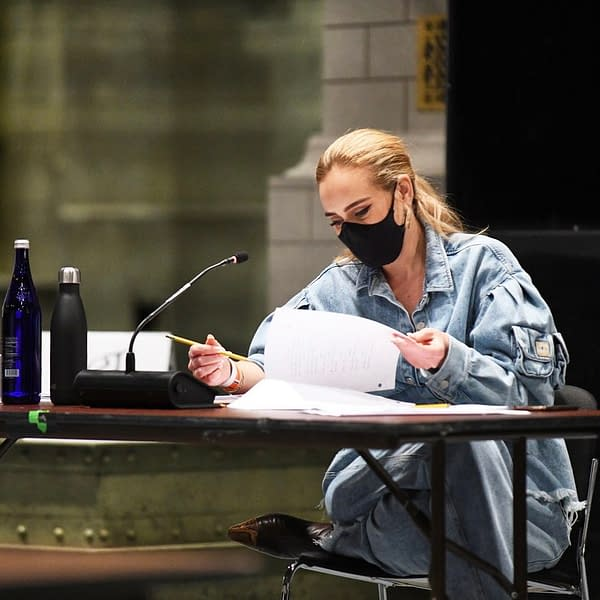 Saturday Night Live host Adele at table read (Image: NBCU)