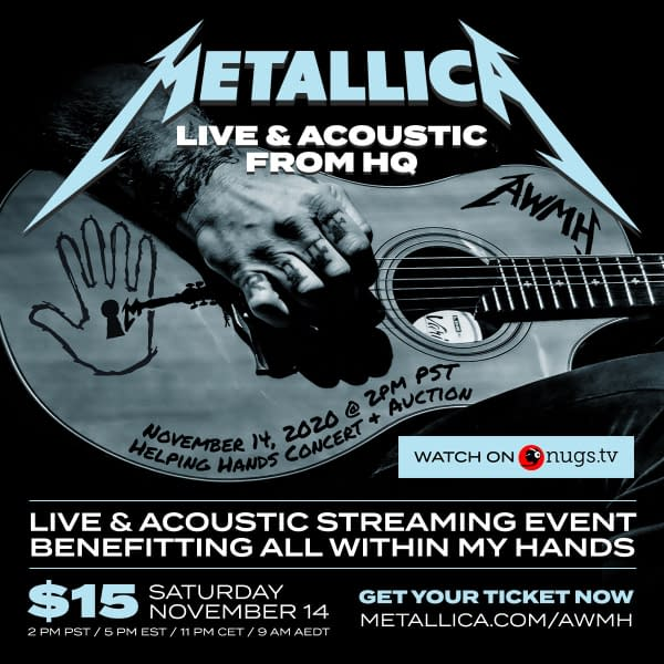 Metallica Doing Live Acoustic Charity Set On November 14th