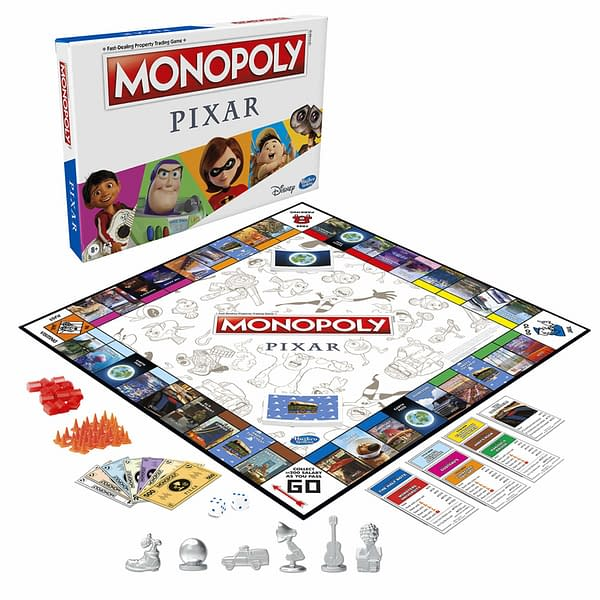 A look at the board and all of the accessories for Monopoly Pixar, courtesy of Hasbro.