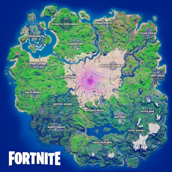 A look at the adjusted Fortnite map for Season 5, courtesy of Epic Games.