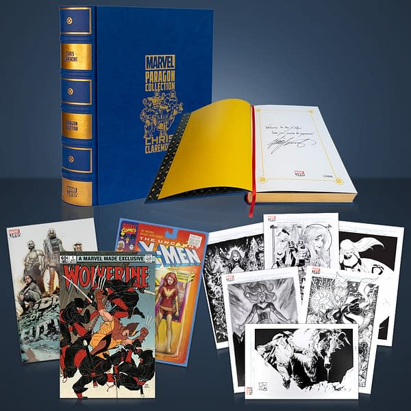 The Chris Claremont Marvel Made bundle. Note the actual book is hilariously about half the size of the giant book-shaped case it comes in.