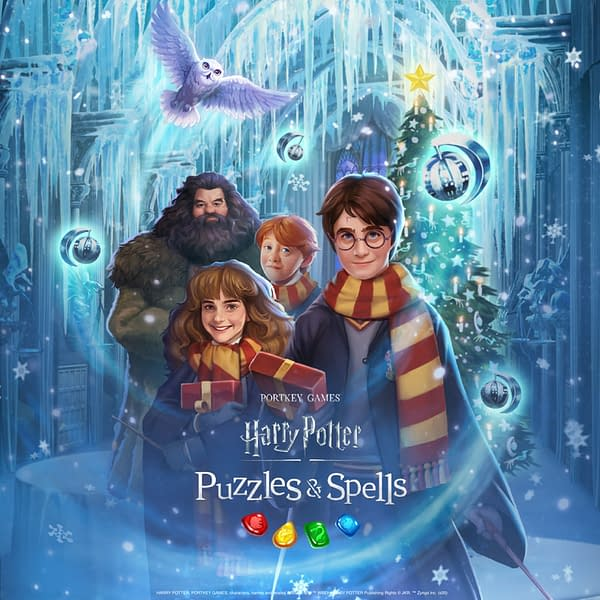 Hey, look! Its Harry Potter, and his friends, in the snow. Courtesy of Zynga.