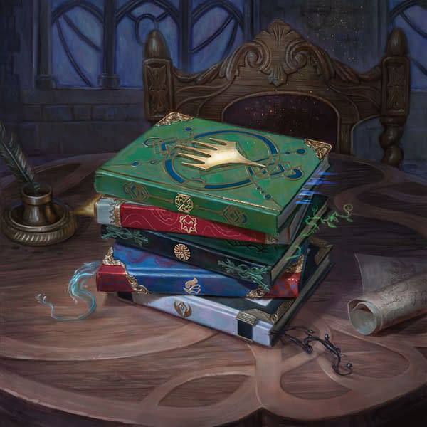 Promotional art for Strixhaven: School of Mages, an upcoming set for Magic: The Gathering. Art by Lindsey Look.