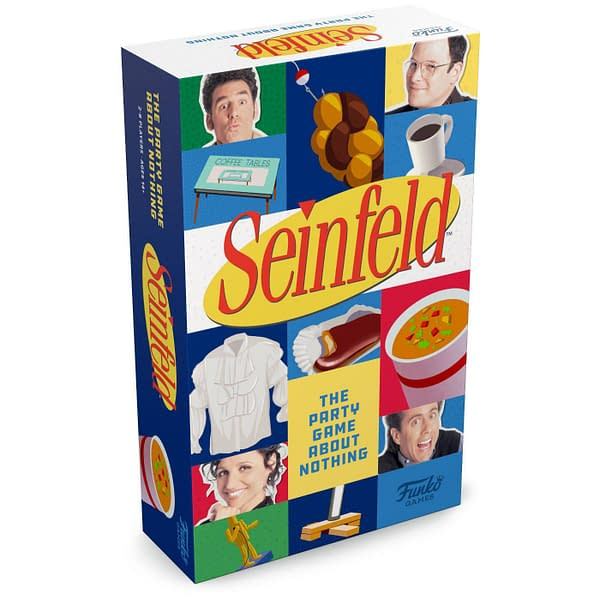 An angle shot of Seinfeld: The Party Game About Nothing, sold at Target stores and local game stores starting June 6th.